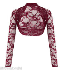 Womens Floral Lace Plus Big Size Crop Top Shrug Ladies Crochet Bolero Cardigan