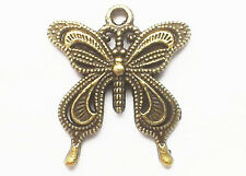 Steampunk Large Butterfly charm, Pack of 7, 24mm