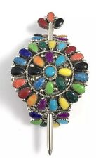 Native American Sterling Silver Navajo Handmade Multicolored Hair Barrette
