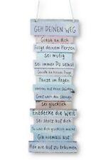Schild Sprüche zur Lebenseinstellung 15 x 41 cm zum Hängen Pastelfarben Vintage
