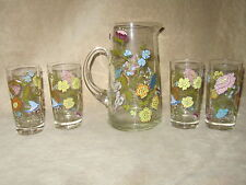 Vintage Floral Glass Pitcher with 4 Matching Glasses Tumblers