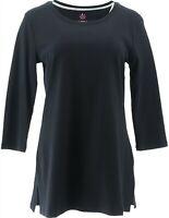Isaac Mizrahi Essentials Pima Cotton Tunic Tall Side Slits Black 2X NEW A370269