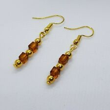 Golden Cube Bead Dangle Drop Earrings ~ Everyday ~ Simple ~ Dangly