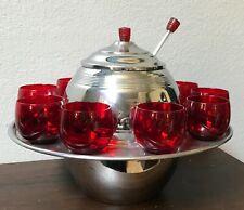 Vintage Art Deco Chrome & 9 Ruby Glasses Saturn Punch Bowl Set, Red Lucite Knobs
