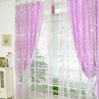 Flower Sheer Curtain Tulle Window Treatment Voile Drape Valance 1 Panel Fabric