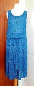 TR VTG 80's Chiffon Blue/Black Belted Summer Day/Evening Cocktail Dress UK 10