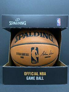 SPALDING OFFICIAL NBA GAME BALL FULL GRAIN LEATHER Basketball Boxed KOBE LEBRON