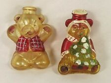 Old World Christmas Light Covers Glass Teddy Bears Lot of 2 Hand Painted