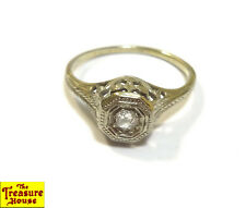 Antique Ornate Estate Diamond Solitaire Solid 18K White Gold Ring 1.8g D&F Sz 6