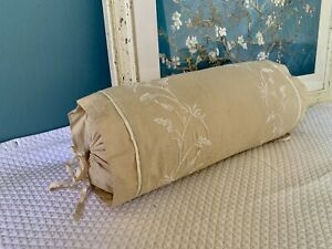 Martha Stewart Collection Embroidered Beige Cotton Pillow Accent Roll