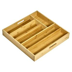 6 Compartment Bamboo Wood Cutlery Drawer Organiser Tray Holder 38cm