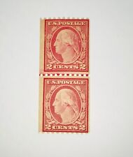 US Stamp Collection #488 MNH Line Pair Horizontal Coil Stamps, Perfect OG CV=$90
