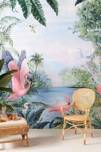 NEW Anthropologie Ervine Wallpaper Mural Tropical Paradise Pink Flamingo Linen