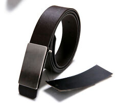 1PCS Fashion Mens Brown PU Leather Belt Smooth Buckle Waistband #23587