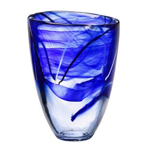 NEW KOSTA BODA CRYSTAL CONTRAST VASE BLUE #7041012 BRAND NIB CUTE SAVE$$ F/SH