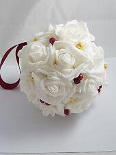 "4""  Burgundy and Gold Wedding Pomander, Wedding Flowers"