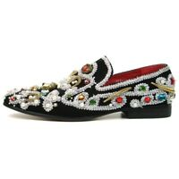 Fiesso Black/Silver Suede Slip on Smoking  Shoes Stones Studded Zari FI 7411