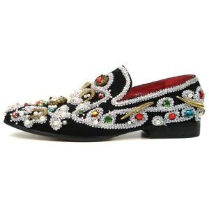Fiesso Black/Silver Suede Slip on Smoking  Shoes Stones Studded Zari FI 7411