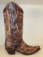 Corral Womens Boots Sz 7.5 M Brown Distressed Leather Snip Toe Cowgirl Western