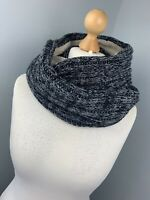 Mens Circle Infinity Neck Grey Thick Woolly Knitted Boho Scarf Snuggly