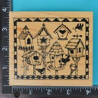 PSX Framed Birdhouses K-2166 Folk Art Wood Mounted Rubber Stamp 1997