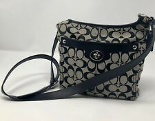 COACH Penelope H1168-f16536 Grey and Black Woven w Leather Trim Cross Body Bag