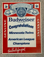 Vintage Budweiser Beer Minnesota Twins American League Champs  Poster - Congrats