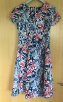 H&M Ladies Dress 10 Floral Summer Tea Fit & Flare Holiday Work Smart Day