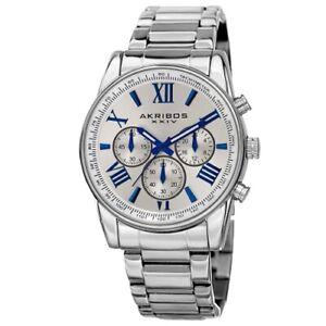 Akribos XXIV AK865SS Round Silver Dial Chronograph Quartz Bracelet Mens Watch