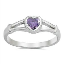 Amethyst Cz Rhodium Plate Height 5 mm Heart Toe Ring Genuine Sterling Silver 925