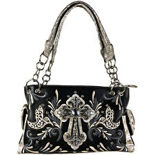 BLACK RHINESTONE STUDDED DOVES CROSS LOOK SHOULDER HANDBAG CONCEALED CARRY