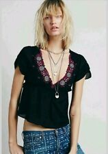 Free People Size Medium Top Black Embroidered Open Back Sexy V neck Boho
