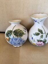 "Set Of 2 Garden small ceramic vases A Princess House Exclusive 4"" Tall"