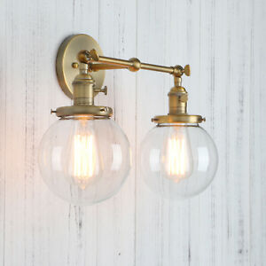 "5.9"" GLOBE CLEAR GLASS RETRO INDUSTRIAL WALL LAMP SCONCE DOUBLE ARM WALL LIGHT"