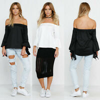 New Women Ladies Off-Shoulder Casual Long Sleeve Shirt Blouse Loose T-shirt Tops