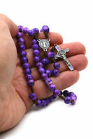 St Benedict Catholic Rosary Purple Beads on Strong Cord for Women