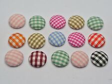 50 Mixed Color Flatback Grid Fabric Covered Buttons Round 12mm Cabochon for DIY