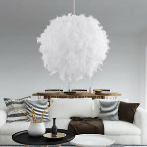 Federn Deckenlampe Pendelleuchte Schirm Lampe Moderne Weiß Lichter Hängeleuchte