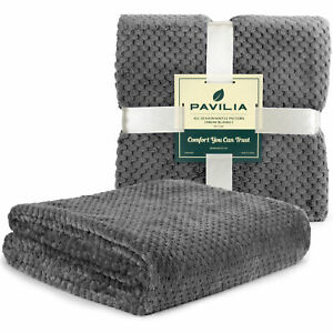 Throw Blanket for Sofa Couch Bed Lightweight Microfiber Polyester Waffle Pattern