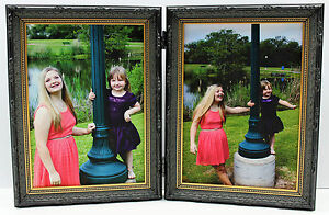 5x7 Black & Gold Double Hinged Photo Picture Frame New Wood  Ornate Decorative