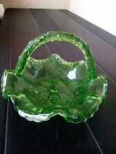 Ancien panier en verre vert vide poche centre de table circa 1930