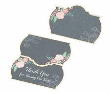 Black Pink Vintage Chalkboard Style Wedding Day Party Place Cards 24 PK