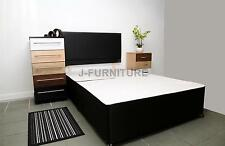 5ft King Size Divan Bed Base in Black Colour With Faux Leather Headboard