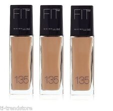 3x Maybelline Fit Me! Make Up Liquid  Foundation 135 Creamy Natural Neu