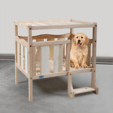 Dog House Elevated Wooden Dog Bed Furniture Flat Top W/ Ladder for Small Cat Pet