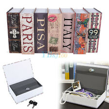 Hollow Storage Safe Box Dictionary Book Money Hidden Secret Security Lock + Keys