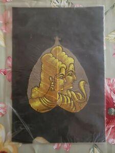 "Vintage Original Hand Painted Peepal Leaf India ""2 Golden Ladies with a Cobra?"