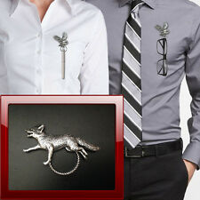Running Fox A3 Pewter Pin Brooch Drop Hoop Holder For Glasses,Pen,Jewellery