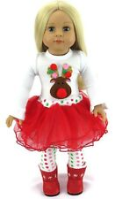 "Reindeer Shirt, Tutu, & Leggings for 18"" American Girl Doll Clothes Christmas"