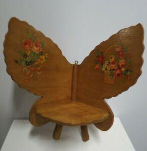 "Vintage Wooden Butterfly Shelf Appears Handmade 10-1/2"" Tall"